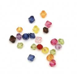 Мънисто кристал 5x5±6x6 мм дупка 1 мм МИКС -50 грама ±800 броя