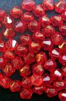 Margele  cristal 4x4 mm gaura 1 mm roșu -50 grame ~ 2100 buc