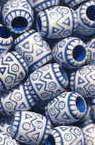 Мънисто прано цилиндър 8.5x7 мм дупка 3 мм синьо рисувано -50 грама ~240 броя