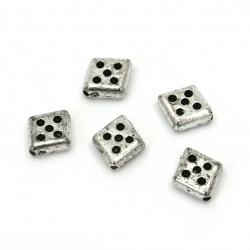 Χάντρα μεταλιζέ ρόμβος 13x12 mm τρύπα 1 mm ασημί -50 γραμμάρια ~ 145 τεμάχια