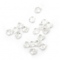 Crystal bead 4x4 mm hole 1 mm transparent -50 grams ~ 2100 pieces
