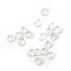 Χάντρα απομίμηση κρύσταλλο 4x4mm Τρύπα 1mm Διαφανής -50g ~ 2100pcs