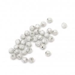 Мънисто сребърна нишка топче 5 мм дупка 1 мм звезди цвят бял -20 грама ±380 броя