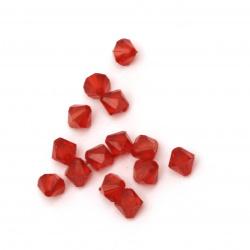 Мънисто кристал 6x6 мм дупка 1 мм червено -50 грама ~ 650 броя
