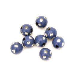 Мънисто имитация камъчета топче 8 мм дупка 2 мм синьо -50 грама ±200 броя