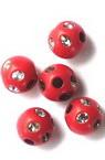 Mărgele imitație bilă pietricele 10 mm gaură 2,5 mm culoare roșu -20 grame ~ 38 bucăți