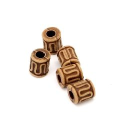 Antique acrylic cylinder  beads 8x6 mm hole 2.5 mm brown - 50 grams ~ 340 pieces