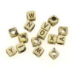 Antique acrylic cube beads 6x6 mm hole 3 mm with letters brown - 50 grams ~ 230 pieces