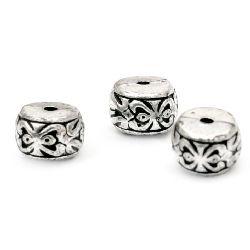 Perle  metalizat cilindrul  8x6 mm gaură 1,5 mm culoare argintiu -50 grame ± 221 bucăți