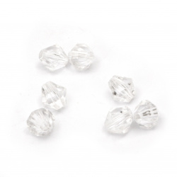 Margele cristal 8x8 mm gaura 1 mm transparent -50 grame ± 240 buc