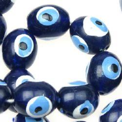 Наниз мъниста око синьо №6 -14 мм- 50 броя