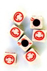 Two-color cube bead with smile 6x6 mm hole 3.5 mm white and red - 50 grams ~270 pieces