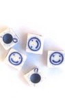 Two-color cube bead with smile 6x6 mm hole 3.5 mm white and blue - 50 grams ~270 pieces