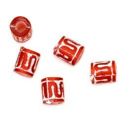 Χάντρα κύλινδρος 6 mm κόκκινο / λευκό -50 γραμμάρια