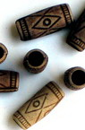 Antique acrylic cylinder  beads 15x6 mm hole 4 mm brown - 50 grams ~ 130 pieces
