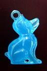Pandantiv forma  câine luminos 36 mm albastru -10 bucăți