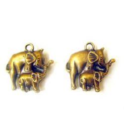 Ελέφαντας κρεμαστό μεταλιζέ 35 mm χρυσό αντικέ -50 γραμμάρια -9 τεμάχια