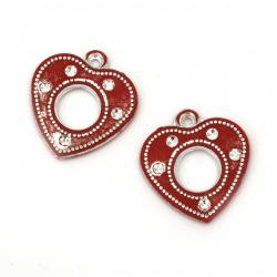 Pandativ forma inimă pietre de culoare roșie imitație roșie cu inel -10 bucăți
