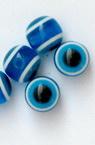 Мънисто резин топче 8 мм дупка 2 мм синьо око -50 броя