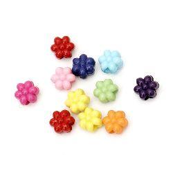 Χάντρα πλακέ λουλούδι 11x8 mm τρύπα 4 mm ΜΙΧ -50 γραμμάρια ~ 95 τεμάχια