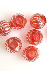 Plastic Ball bead 1 mm with relief silver line, red - 50 grams