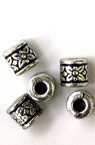 Bead metallized cylinder 8x8 mm hole 3.5 mm color silver -50 grams ~ 150 pieces