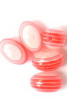 Resin acrylic beads, striped cylinder oval 13x9 mm red - 50 pieces