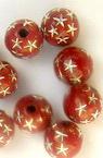 Мънисто сребърна нишка топче 8 мм червено -50 грама