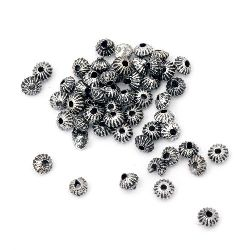 Metallic, round, plastic bead4x3 mm hole 1 mm color silver -50 grams ~ 1820 pieces