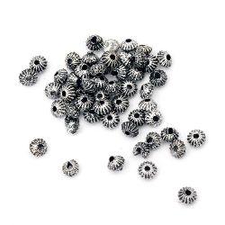 Χάντρα μεταλιζέ 4x3 mm τρύπα 1 mm ασήμι -50 γραμμάρια ~ 1820 τεμάχια
