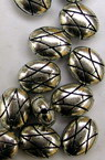 Bead metallic oval 10 mm color silver -50 grams