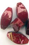 Мънисто златна нишка продълговато 19 мм червено -50 грама