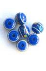 Χάντρα στρόγγυλη ρητίνη 8x7 mm μπλε με σχέδια -50 τεμάχια