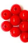 Мънисто плътно топче 8x7 мм дупка 1.5 мм червено -50 грама ~ 180 броя
