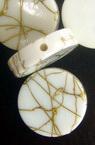 Margele forma saibe cu fir auriu 19x5 mm alb -50 grame