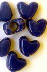 Perlă inimă solidă 9x11x6,5 mm gaură 3,5 mm albastru -50 grame ~ 130 bucăți