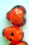 Transparent Acrylic Faceted Heart Beads, with White Core, Orange 20 mm red - 50 grams