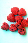 Acrylic crackle heart bead 8 mm red - 50 grams