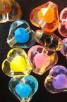 Мънисто с цветна основа сърце 11 мм прозрачно -50 грама