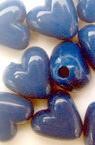 Χάντρα πλακέ καρδιά 9x10x6 mm μπλε -50 γραμμάρια