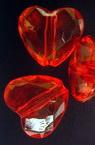 Χάντρα απομίμηση κρύσταλλο καρδιά 20x18x10mm Τρύπα 2mm κόκκινο -50 γραμμάρια ~ 25 τεμάχια