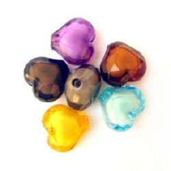 Transparent Acrylic Beads, Bead in Bead, Heart, Multicolor, White Core 20 mm - 50 grams