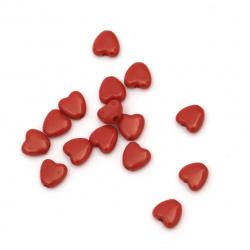 Perlă inimă solidă 6x6,5x3 mm gaură 1 mm roșu -50 grame ~ 620 bucăți