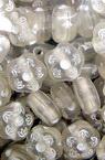 Perlă forma  flori transparentă de 8mm cu alb -50 grame