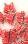 Margele forma flutire 7x8.5x3.5 mm Gură 1,5 mm Culoare Roșu -50 grame ~ 400 bucăți