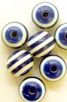 Bilă gaură 12x10 mm albastru 3 mm albastru cu dungi albe -50 bucăți