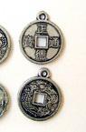 Висулка метализе паричка 19x15x2 мм дупка 1 мм сребро -50 грама ~150 броя