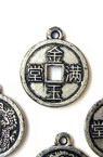 Pandantiv  forma monedă metalizată 21x18x2 mm gaură 1,5 mm argint -50 grame ~ 120 bucăți