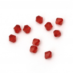 Crystal bead 5x5 mm hole 1 mm red -50 grams ~ 1000 pieces