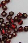 Γυάλινη χάντρα 4 mm κόκκινο/ ασημένια βάση -50 γραμμάρια